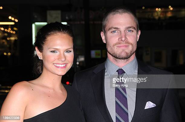Actor Stephen Amell and Cassandra Jean attend the premiere of HBO's new series 'LUCK' at Grauman's Chinese Theatre on January 25, 2012 in Hollywood,...