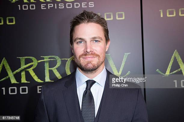 Actor Stephen Amell arrives on the green carpet for the celebration of the 100th Episode of CW's Arrow at the Fairmont Pacific Rim Hotel on Oct 22...