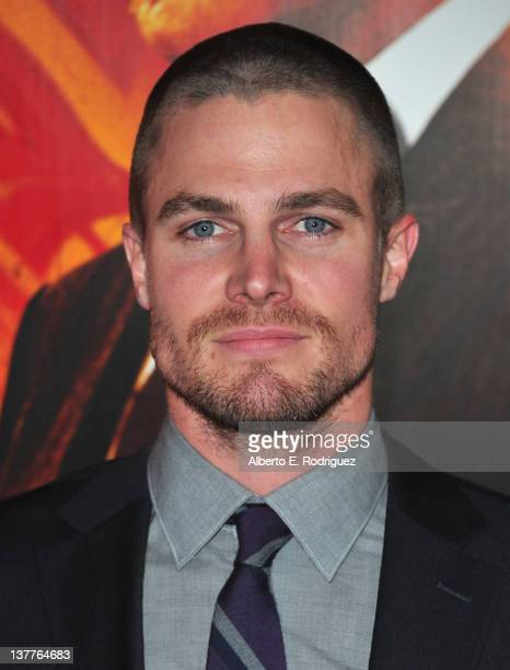 Actor Stephen Amell arrives to the premiere of HBO's new series 'Luck' at Grauman's Chinese Theatre on January 25 2012 in Hollywood California