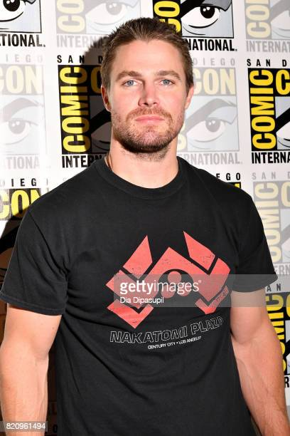 Actor Stephen Amell from CW's 'Arrow' at the Arrow Press Line during ComicCon International 2017 at Hilton Bayfront on July 22 2017 in San Diego...