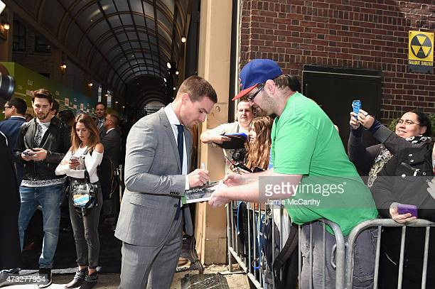 Actor Stephen Amell greets fans at the CW Network's 2015 Upfront at the London Hotel on May 14 2015 in New York City