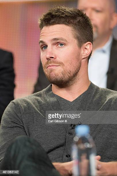 Actor Stephen Amell serves as a panelist during the 'Arrow' and 'The Flash' panel as part of The CW 2015 Winter Television Critics Association press...