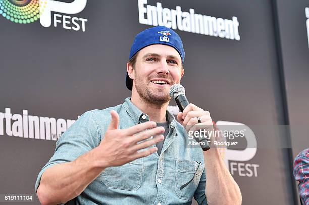 "Actor Stephen Amell speaks onstage during the ""CW Superheroes"" panel at Entertainment Weekly's PopFest at The Reef on October 29 2016 in Los Angeles..."