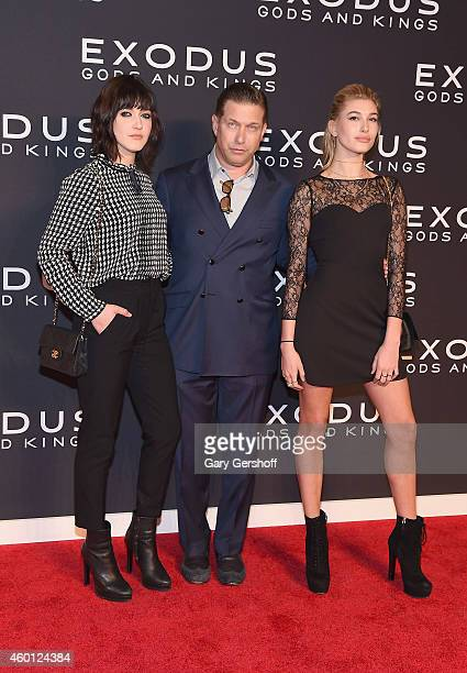 Actor Stephen Baldwin with daughters Alaia Baldwin and Hailey Baldwin attend the 'Exodus Gods And Kings' New York Premiere at Brooklyn Museum on...