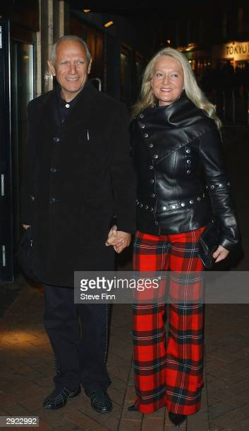Actor Stephen Berkoff and unidentified guest attend the UK Premiere of Charlie at the Warner Village Cinema West End on February 2 2004 in London...