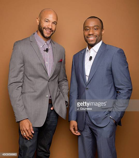 Actor Stephen Bishop and media personality Marc Lamont Hill pose for a portrait at the 2014 American Black Film Festival at the Metropolitan...