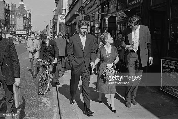 Actor Stephen Boyd marries Italian MCA executive Mariella di Sarzana at Fulham Registry Office London 1958