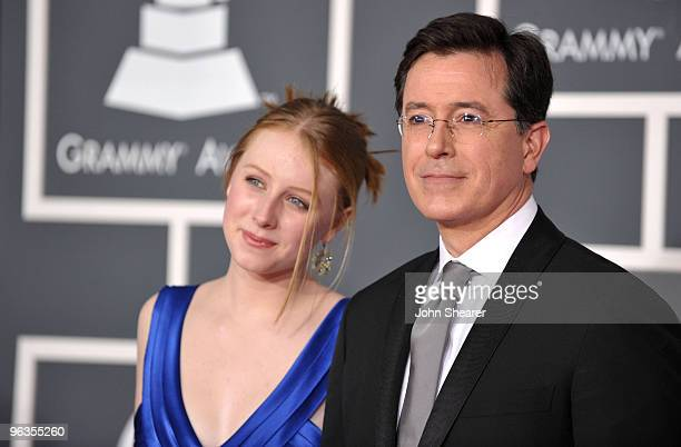 Actor Stephen Colbert and daughter arrive at the 52nd Annual GRAMMY Awards held at Staples Center on January 31 2010 in Los Angeles California