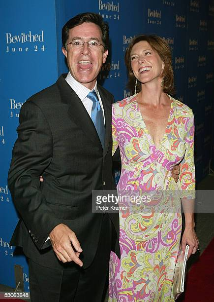Actor Stephen Colbert and his wife Evelyn attend the premiere of Bewitched at the Ziegfeld Theatre on June 13 2005 in New York City