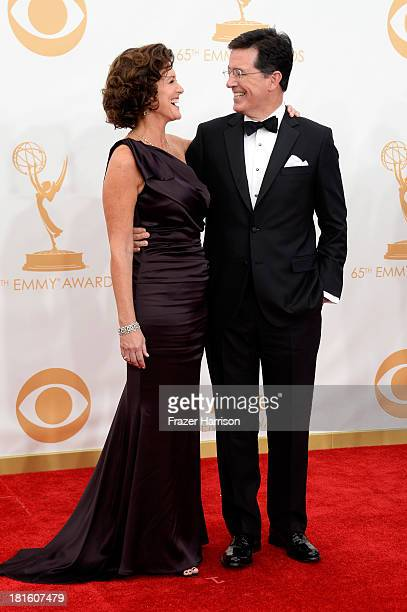 Actor Stephen Colbert and his wife Evelyn Colbert arrive at the 65th Annual Primetime Emmy Awards held at Nokia Theatre LA Live on September 22 2013...
