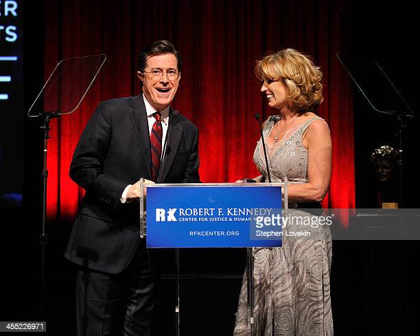 Actor Stephen Colbert and President of RFK Center Kerry Kennedy speak onstage at Robert F Kennedy Center For Justice And Human Rights 2013 Ripple Of...
