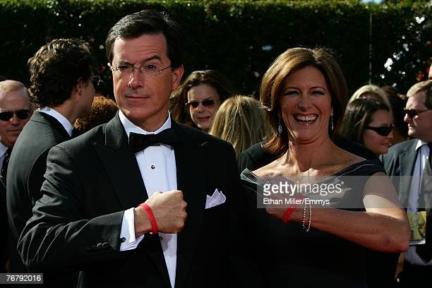 Actor Stephen Colbert and wife Evelyn Mcgee arrives at the 59th Annual Primetime Emmy Awards at the Shrine Auditorium on September 16 2007 in Los...