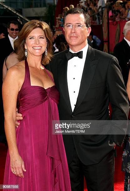 Actor Stephen Colbert and wife Evelyn McGee Colbert arrive at the 61st Primetime Emmy Awards held at the Nokia Theatre on September 20 2009 in Los...