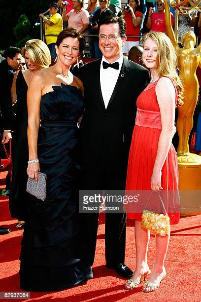 Actor Stephen Colbert wife Evelyn McGee and daughter arrive at the 60th Primetime Emmy Awards held at Nokia Theatre on September 21 2008 in Los...