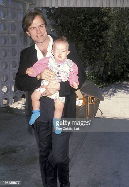 Actor Stephen Collins and daughter Kate Collins on July 14 1990 arriving at the Los Angeles International Airport in Los Angeles California
