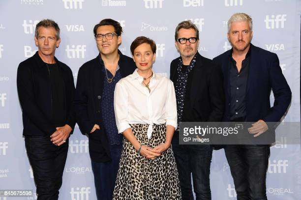 Actor Stephen Dillane director Joe Wright actors Kristin Scott Thomas Gary Oldman and screenwriter Anthony McCarten speak onstage at 'Darkest Hour'...
