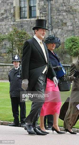 Actor Stephen Fry arrives at Galilee Porch to attend the Service of Prayer and Dedication following the marriage of TRH Prince Charles and The...