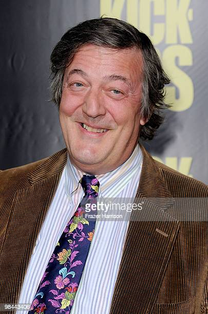 Actor Stephen Fry arrives at the premiere of Lionsgate's 'KickAss' held at The Cinerama Dome at the Arclight Hollywood on April 13 2010 in Los...