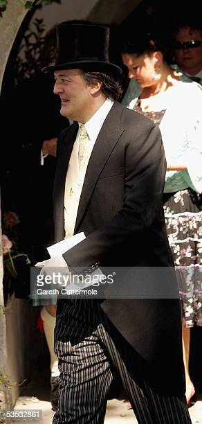 Actor Stephen Fry attends the wedding of musician Jools Holland and Christabel McEwen at St James's Church Cooling on August 30 2005 in Cooling...