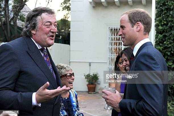 Actor Stephen Fry, talks to Prince William, Duke of Cambridge at the private reception held at the British Consul-General's residence on July 8, 2011...