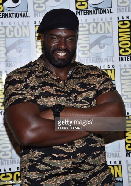 Actor Stephen Hill arrives on the photo line for the CBS show Magnum PI at Comic Con in San Diego July 19 2018