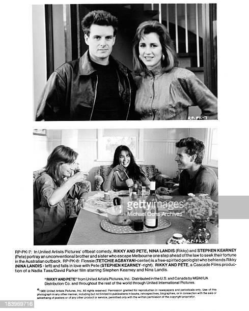 Actor Stephen Kearney and actress Nina Landis actress Nina Landis actress Tetchie Agbayani and actor Stephen Kearney on set for the United Artists...
