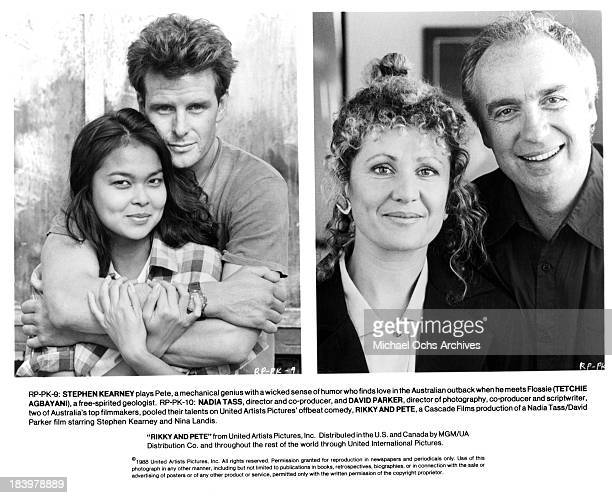 Actor Stephen Kearney and actress Tetchie Agbayani Director Nadia Tass and CoProducer David Parker on set for the United Artists movie 'Rikky and...