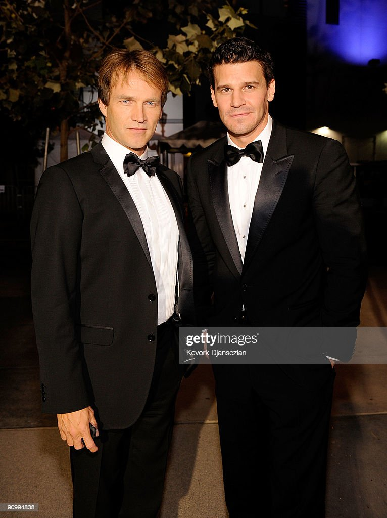 Actor Stephen Moyer and Actor David Boreanaz backstage at the 61st Primetime Emmy Awards held at the Nokia Theatre on September 20, 2009 in Los Angeles, California.