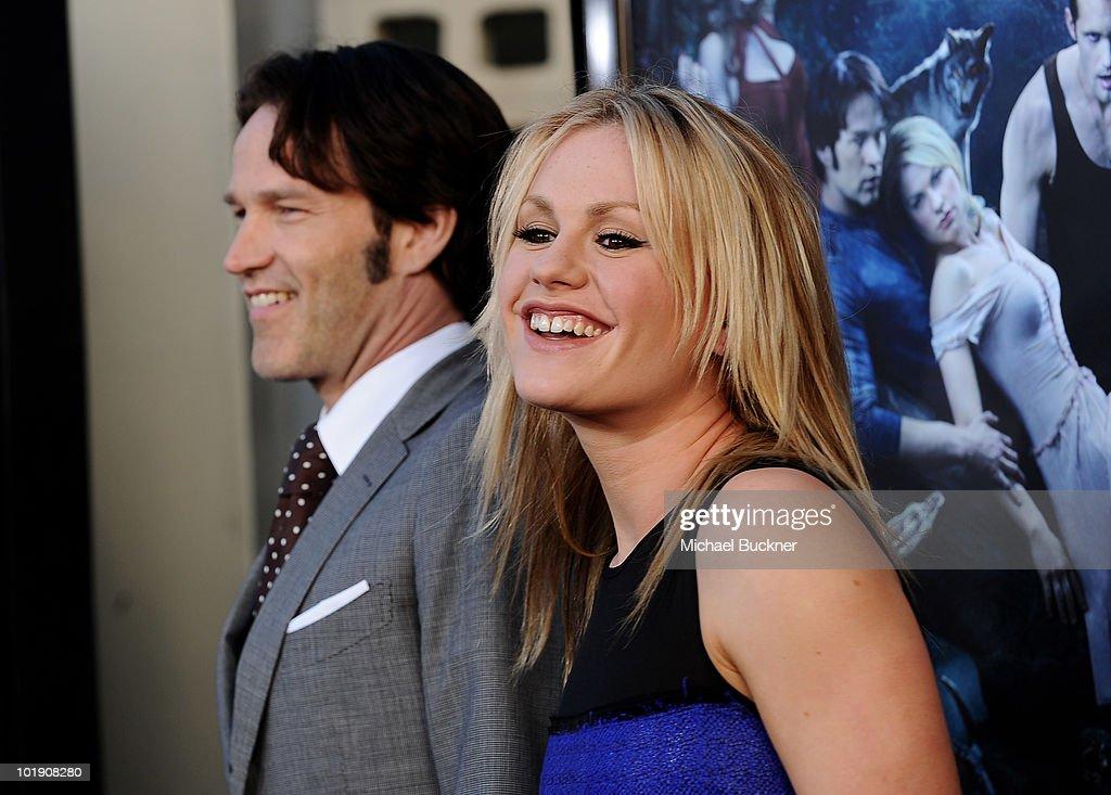 Actor Stephen Moyer (L) and Actress Anna Paquin arrive at the premiere of HBO's 'True Blood' Season 3 at The Cinerama Dome on June 8, 2010 in Hollywood, California.