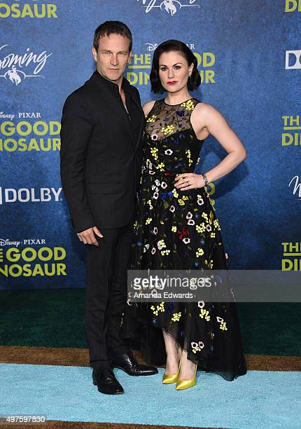 Actor Stephen Moyer and actress Anna Paquin arrive at the premiere of DisneyPixar's The Good Dinosaur on November 17 2015 in Hollywood California