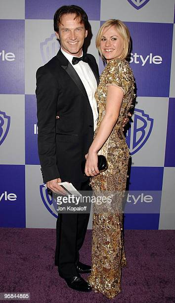 Actor Stephen Moyer and actress Anna Paquin arrives at the Warner Brothers/InStyle Golden Globes After Party at The Beverly Hilton Hotel on January...