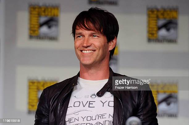 Actor Stephen Moyer speaks at HBO's True Blood Panel during ComicCon 2011 and the San Diego Convention Center on July 22 2011 in San Diego California