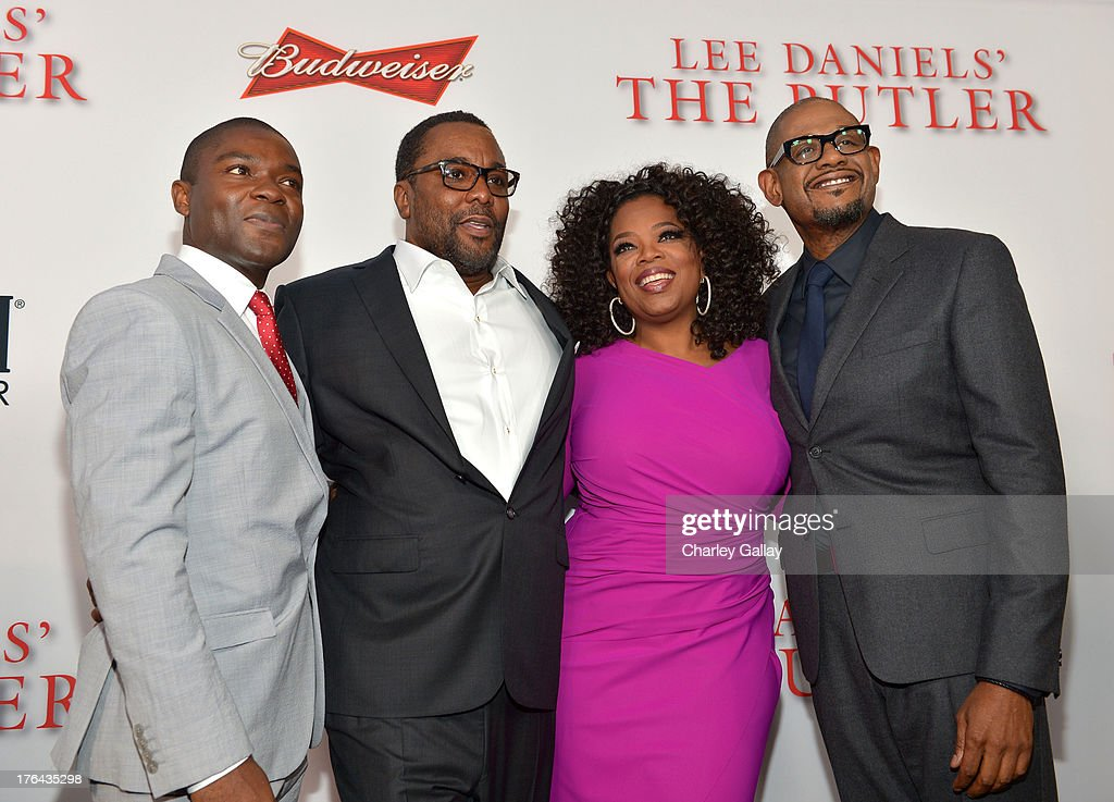 Actor Stephen Rider, director Lee Daniels, actors Oprah Winfrey, and Forest Whitaker attend LEE DANIELS' THE BUTLER Los Angeles premiere, hosted by TWC, Budweiser and FIJI Water, Purity Vodka and Stack Wines, held at Regal Cinemas L.A. Live on August 12, 2013 in Los Angeles, California.