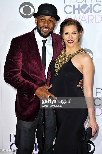 """Actor Stephen """"Twitch"""" Boss and dancer Allison Holker arrive at the People's Choice Awards 2016 at Microsoft Theater on January 6, 2016 in Los..."""
