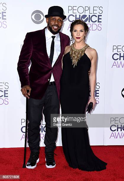 Actor Stephen 'Twitch' Boss and dancer Allison Holker attend the People's Choice Awards 2016 at Microsoft Theater on January 6, 2016 in Los Angeles,...