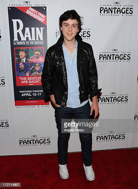 Actor Sterling Beaumon arrives at the opening night of 'Rain A Tribute To The Beatles' at the Pantages Theatre on April 12 2011 in Hollywood...