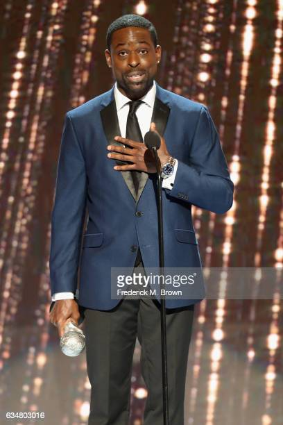 Actor Sterling K. Brown accepts award for Outstanding Actor in a Drama Series onstage at the 48th NAACP Image Awards at Pasadena Civic Auditorium on...