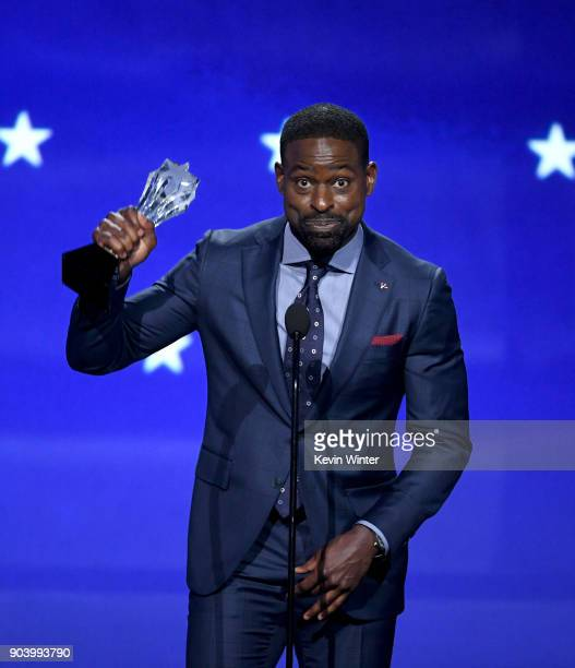 Actor Sterling K Brown accepts Best Actor in a Drama Series for 'This Is Us' onstage during The 23rd Annual Critics' Choice Awards at Barker Hangar...