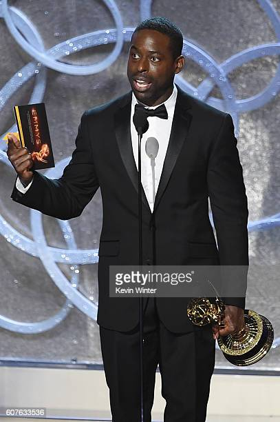 Actor Sterling K Brown accepts Outstanding Supporting Actor in a Limited Series or Movie for 'The People v OJ Simpson American Crime Story' onstage...