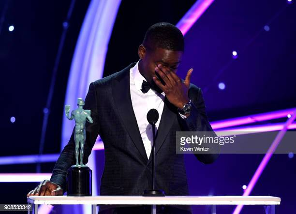 Actor Sterling K Brown accepts the Outstanding Performance by a Male Actor in a Drama Series award for 'This Is Us' onstage during the 24th Annual...