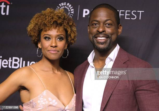 US actor Sterling K Brown and his wife US actor Ryan Michelle Bathe arrive for the 36th Annual PaleyFest presentation of NBC's 'This Is Us' at the...