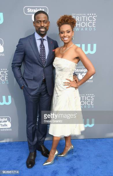 Actor Sterling K Brown and Ryan Michelle Bathe attend The 23rd Annual Critics' Choice Awards at Barker Hangar on January 11 2018 in Santa Monica...