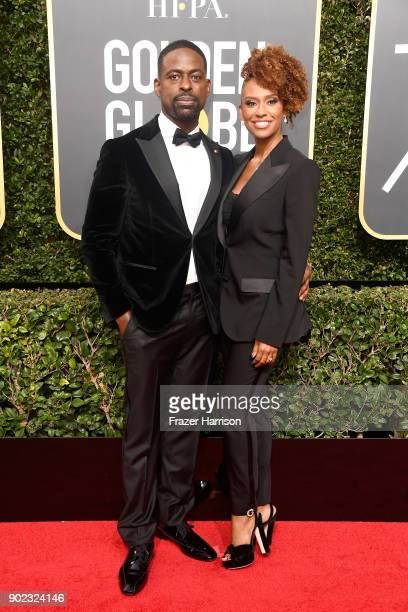 Actor Sterling K Brown and Ryan Michelle Bathe attend The 75th Annual Golden Globe Awards at The Beverly Hilton Hotel on January 7 2018 in Beverly...