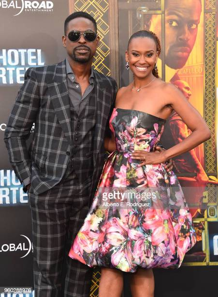 Actor Sterling K Brown and Ryan Michelle Bathe attend the premiere of Global Road Entertainment's Hotel Artemis at Regency Village Theatre on May 19...