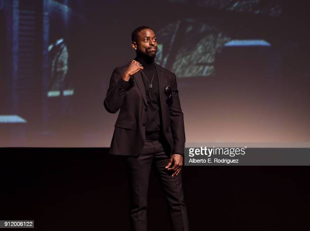 Actor Sterling K Brown at the Los Angeles World Premiere of Marvel Studios' BLACK PANTHER at Dolby Theatre on January 29 2018 in Hollywood California