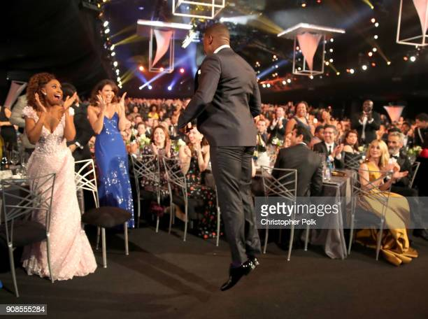 Actor Sterling K Brown celebrates after winning the award for 'Outstanding Performance by a Male Actor in a Drama Series' during the 24th Annual...