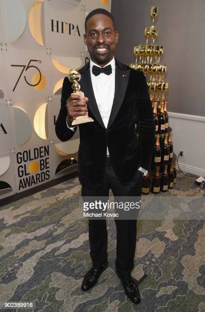 Actor Sterling K Brown celebrates The 75th Annual Golden Globe Awards with Moet Chandon at The Beverly Hilton Hotel on January 7 2018 in Beverly...