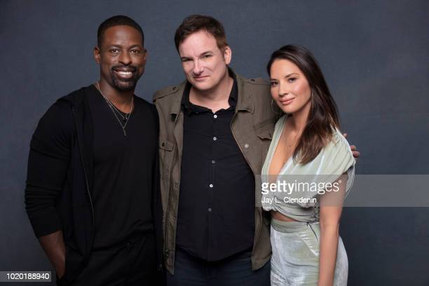 Actor Sterling K. Brown, director Shane Black and actress Olivia Munn from 'The Predator' are photographed for Los Angeles Times on July 19, 2018 in...