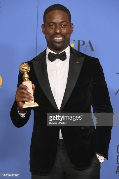 Actor Sterling K Brown holds his award for Best Performance by an Actor In A Television Series Drama in 'This Is Us' in the press room during The...