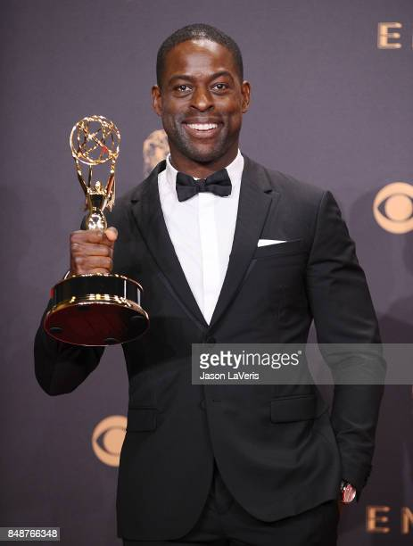 Actor Sterling K. Brown poses in the press room at the 69th annual Primetime Emmy Awards at Microsoft Theater on September 17, 2017 in Los Angeles,...
